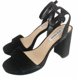 Steve Madden Black Perch Platform Sandal Heel